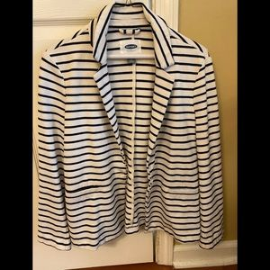Navy and White Striped Jersey Blazer